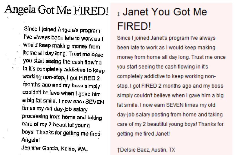 Testimonial - Got Me Fired Side By Side